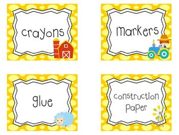 28 Farm themed Printable Basket Labels Classroom Organizer Set. Class Acce