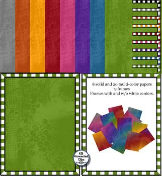 28 Grunge Papers and Checked Frames - Fall Colors!