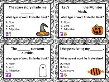 28 Halloween Parts of Speech Grammar Task Cards: Nouns, Verbs, Adjectives
