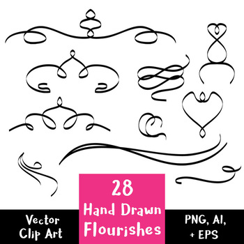 28 Hand Drawn Flourishes | Vector Text Dividers | Decorative Border Clipart