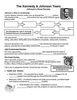 28 - The Johnson Years - Scaffold/Guided Notes (Blank and Filled-In)
