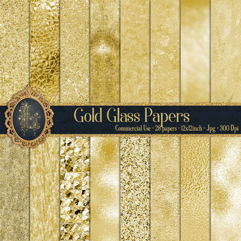 28 Luxury Gold Glass Digital Papers 12 inch