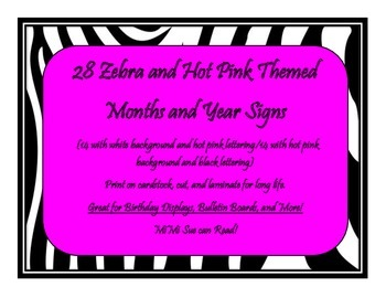 28 Month/Year Bulletin Board Signs (Zebra and Hot Pink Themed)
