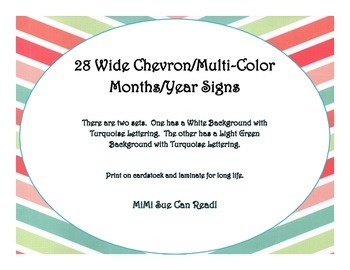 28 Months/Years Bulletin Board Signs (Wide Chevron Multi-Color)