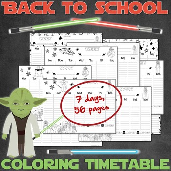 28 weekly timetables for Star Wars fans - PRINTABLE - 7 DAYS