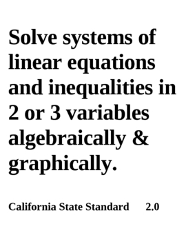 28 Posters for Algebra 2 Standards