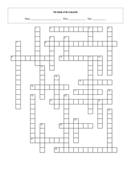 28 Question Battle of the Labyrinth Crossword with Key