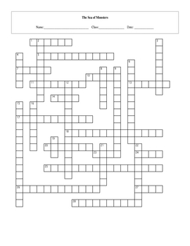 28 Question Sea of Monsters Crossword with Key