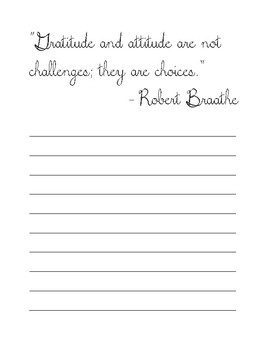 28 Quotes About Gratitude Cursive Copy Work Handwriting Practice