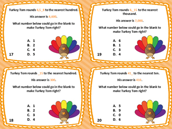 28 Thanksgiving Rounding Task Cards: Round to Nearest Ten, Hundred, and Thousand