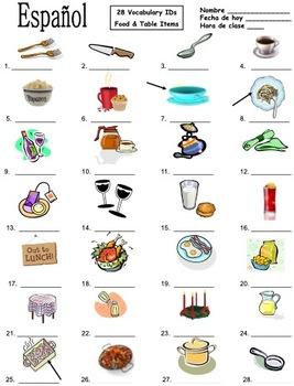 Spanish Food Vocabulary / Table Vocabulary 28 Image IDs - La Comida y la Mesa