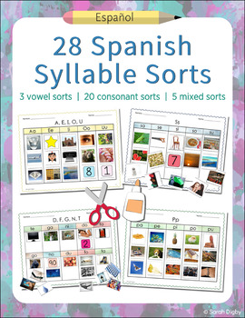 28 Spanish Syllable Sorts – Phonemic Awareness and Alphabet Activities