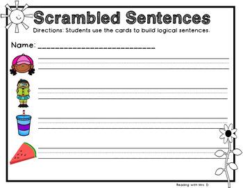 28 Summer Scrambled Sentences PLUS Recording Pages