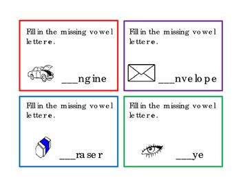 28 Task Cards 7pg Set Write Vowel Letters A E I O U Writing Reading Journal Supl