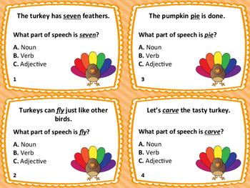 28 Thanksgiving Task Cards: Nouns, Verbs, Adjectives