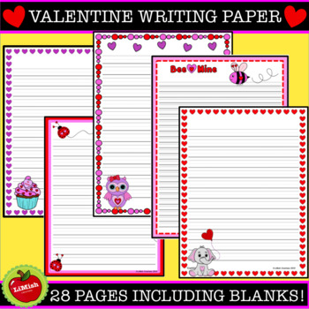 28 Valentine's Day Writing Pages / paper. 7 designs.