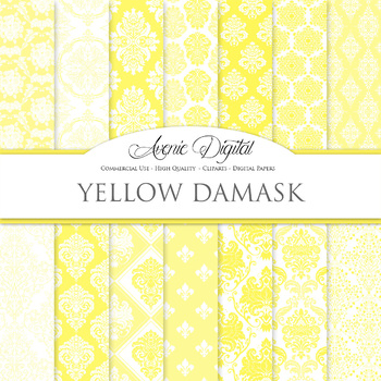 28 Yellow Damask Digital Paper patterns ornate wedding scrapbook backgrounds