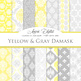 28 Yellow and gray Damask Digital Paper patterns ornate backgrounds