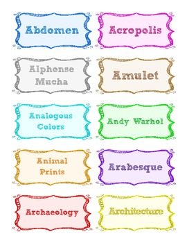 280 Art Words for Art Word Wall (or Other Display)