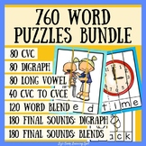 760 Word Puzzles BUNDLE: CVC, Long Vowels, Digraphs, Blends and CVC to CVCE