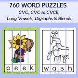 760 Word Puzzles BUNDLE: CVC, Long Vowels, Digraphs, Blend