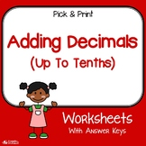 Adding Decimals To The Tenths Worksheets