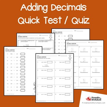 Adding Decimals Test / Adding Decimals Quiz Worksheets