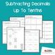 Subtracting Decimals Up To Tenths