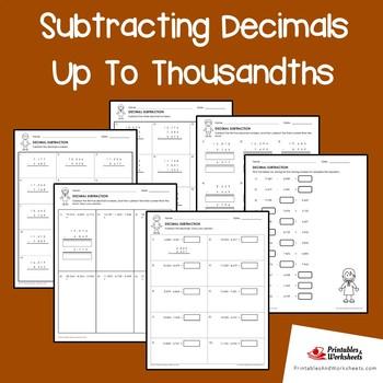 Subtracting Decimals Up To Thousandths
