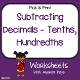 Subtracting Decimals To The Tenths, Hundredths Worksheets