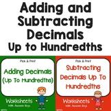 Adding And Subtracting Decimals Hundredths