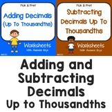 Adding And Subtracting Decimals Thousandths