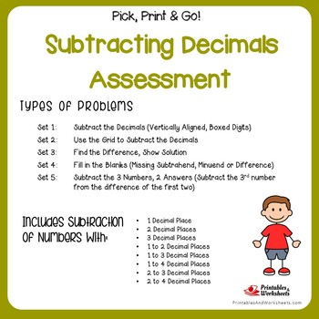 Adding and Subtracting Decimals Assessment Worksheets