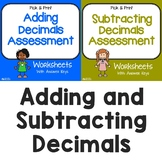 5th Grade Adding and Subtracting Decimals Assessment Worksheets, Practice Sheets
