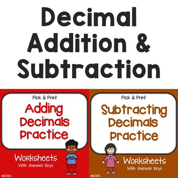 Add, Subtract Decimals Practice Worksheets