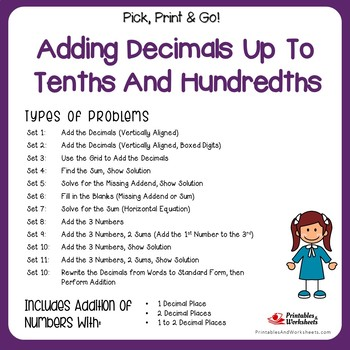 Adding and Subtracting Decimals - Tenths, Hundredths