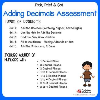 Adding Decimals Assessment Worksheet, Adding Decimals 5th Grade Practice