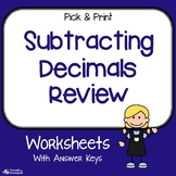 Subtracting Decimals Review Worksheets