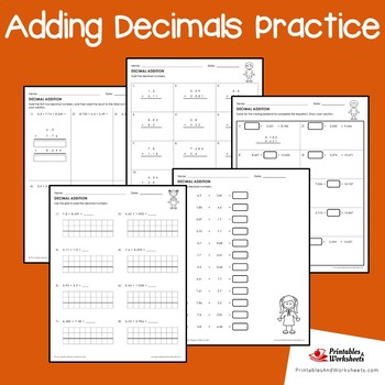 Adding Decimals Review Worksheets