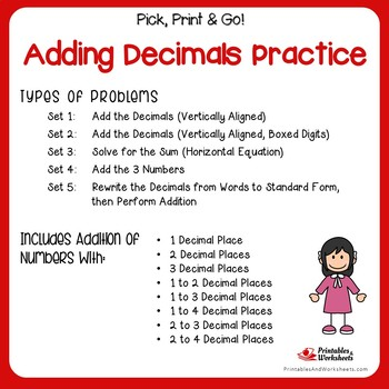 Adding Decimals Practice Worksheets, Adding Decimal Number Quick Assessment