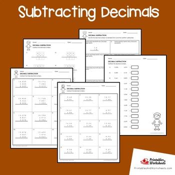 Subtracting Decimals Practice Worksheets