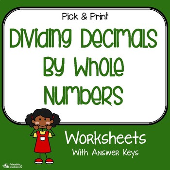decimals divide by whole numbers worksheets for practice assessment