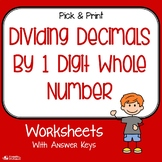 Dividing Decimals By Single Digit Whole Numbers Worksheets