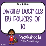 Dividing Decimals by Powers of 10 Worksheets