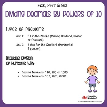 Dividing Decimals By Powers Of 10 Worksheets By Printables And
