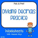 Dividing Decimals Practice Worksheets
