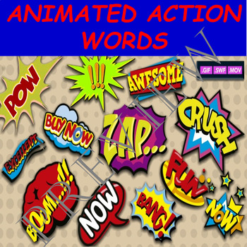 29 ANIMATED COMIC ACTION WORDS BY COMIC TOONS for TPT Sellers / Teachers