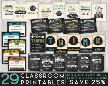 29 Classroom Printables, Huge Poster Bundle - 8x10