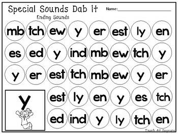 29 Ending Special Sounds Dab It Worksheets. Kindergarten-1st Grade ELA.
