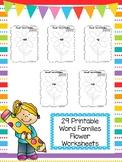 29 Flower Word Families Worksheets. Preschool and Kindergarten Word Families.